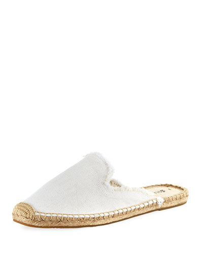 Frayed Canvas Espadrille Mule, White