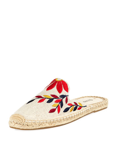 Embroidered Canvas Mule Slide, Sand