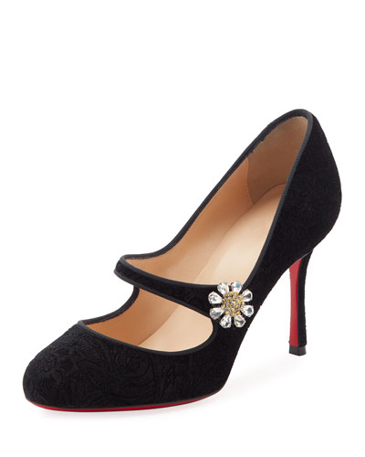 Booton Velvet Mary Jane Red Sole Pump, Black