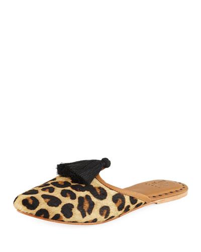 Audrey Calf Hair Mule Flat, Leopard