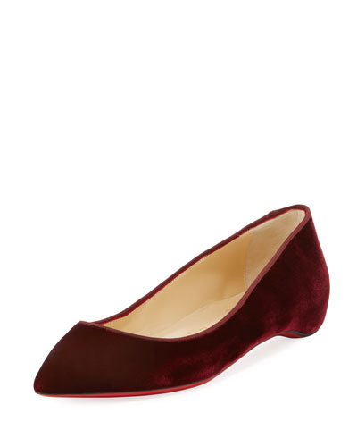 Pigalle Follies Velvet Red Sole Flat
