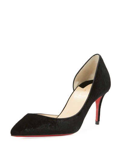 Iriza 70mm Embossed Velvet Red Sole Pump