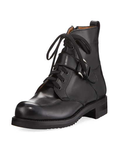 Lace-Up Leather Moto Boot