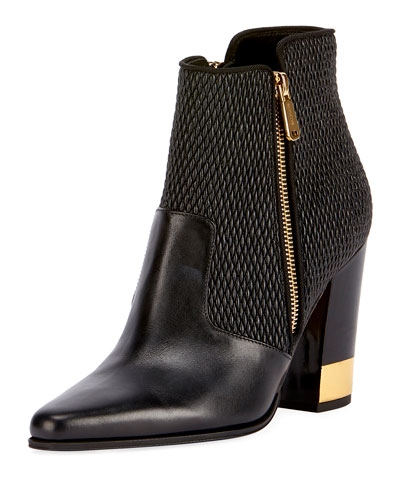 Anthea Matelasse Block-Heel Boot