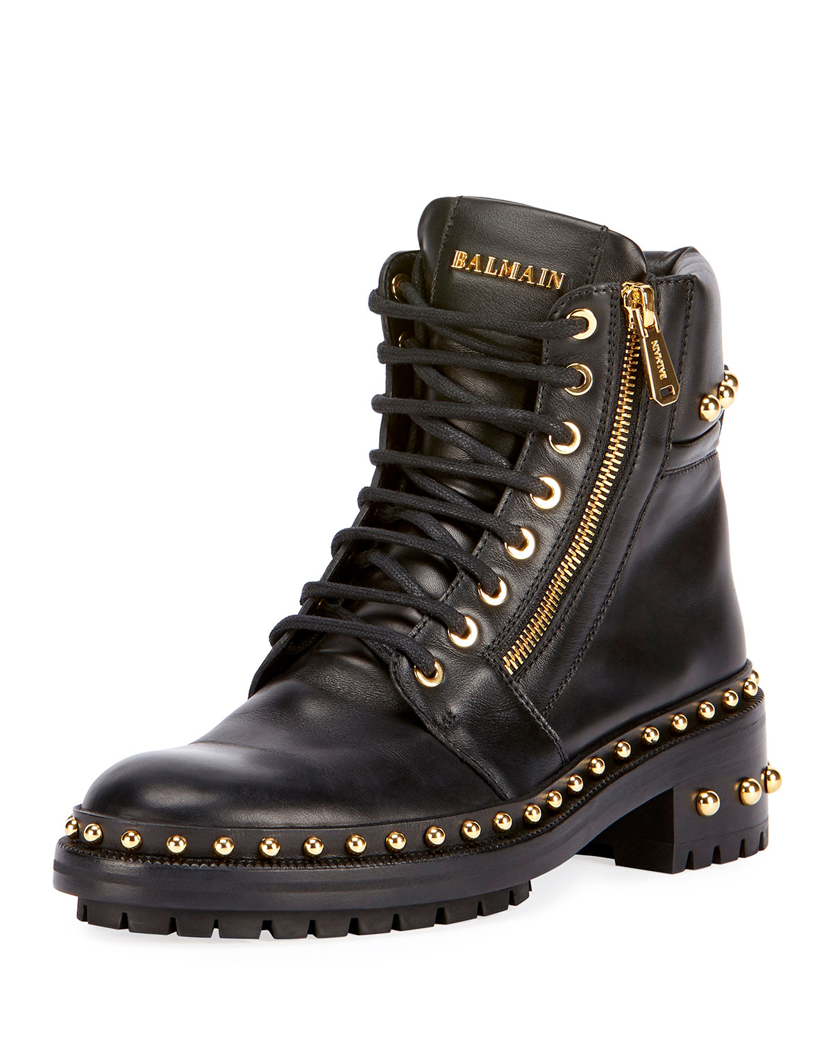 Studded Leather Combat Boot