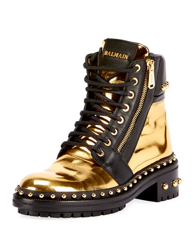 Studded Metallic Leather Combat Boot