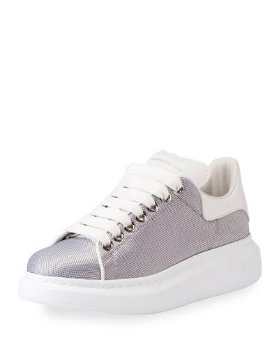 Metallic Textile Platform Low-Top Sneaker