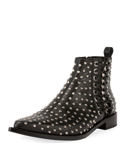 Embellished Leather Ankle Boots With Lace-Up Side, Black/Silver