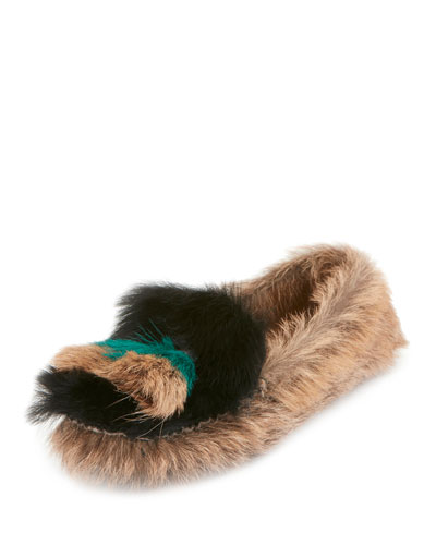 Colorblock Fur Slip-On Moccasin