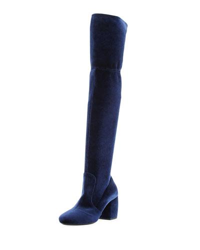 Stretch-Velvet Knee Boot, Navy