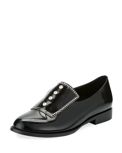 Leah Leather Faux Pearl Embellished Loafers, Black