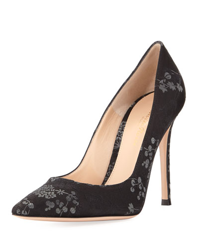 Gianvito 105 Floral Brocade 105mm Pump, Black