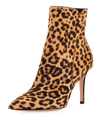 Leopard-Print Calf Hair 85mm Boot
