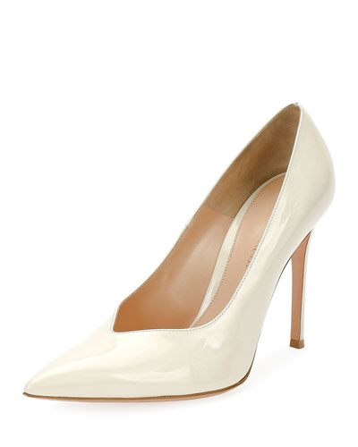 Paris Patent Point-Toe 105mm Pump, White