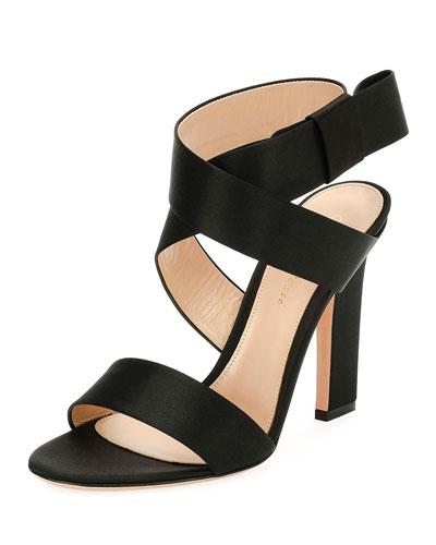 Satin Ankle-Wrap 105mm Sandal