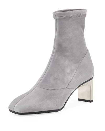 Suede Metallic-Heel Boot