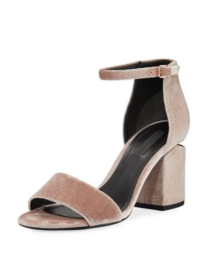 Abby Velvet Block-Heel Sandal