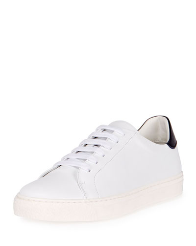 Wink Smiley Leather Tennis Sneaker, White