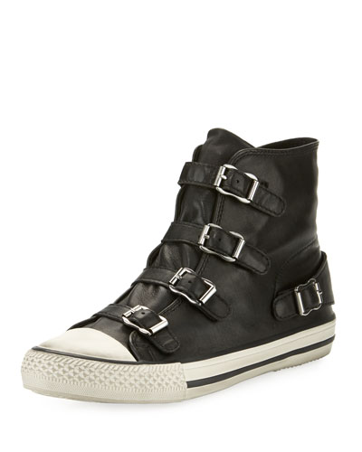 Ash Virgin Leather Buckle High-Top Sneaker