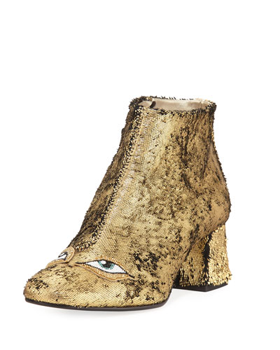 Catroux Eyes Metallic Leather Ankle Boot, Gold