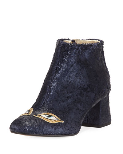 Catroux Eyes Shiny Leather Ankle Boot, Navy
