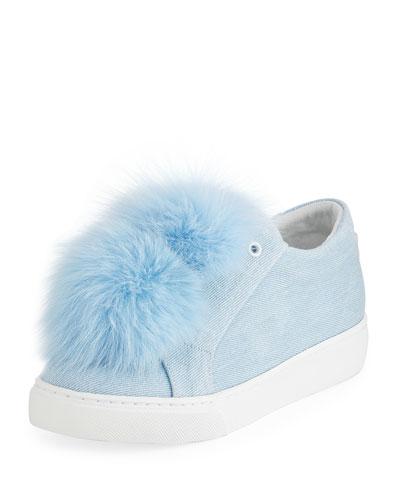 Stella Denim Fur Pompom Sneaker