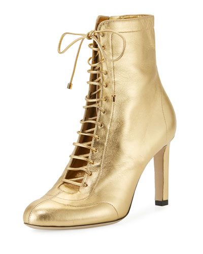 Daize Metallic Leather Lace-Up Bootie