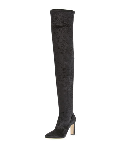 Lorraine Stretch-Velvet Over-the-Knee Boot