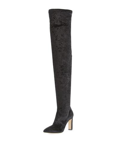 Lorraine Stretch-Velvet Over-the-Knee Boot