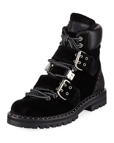 Breeze Buckled Velvet Biker Boot