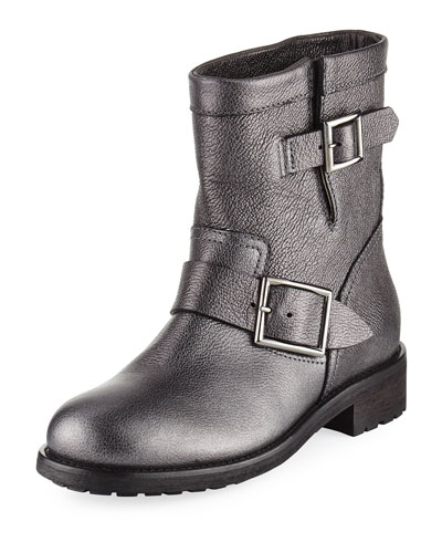 Youth Metallic Leather Biker Boot