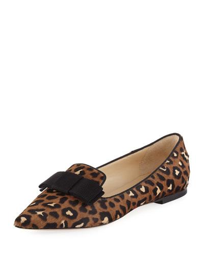Gala Leopard-Print Calf Hair Bow Flat