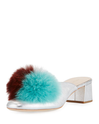 Lulu Fur Pompom Block-Heel Mule Pump