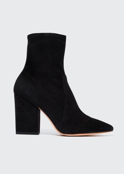 Isla Suede Chunky-Heel Boot, Black