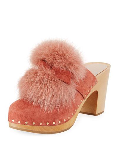 Phillips Fur Pompom Clog Mule
