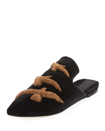 Gabbiano Embroidered Velvet Mule