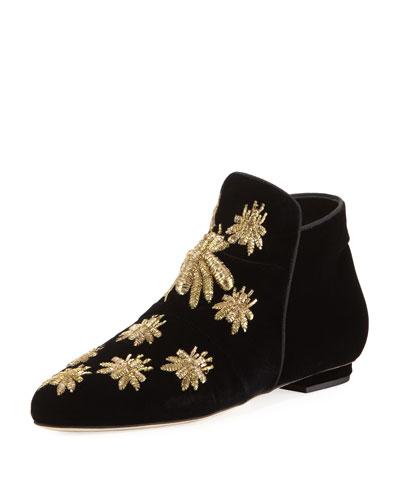 Metallic Embroidered Velvet Boot