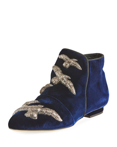 Gabbiano Bird-Embroidered Velvet Boot