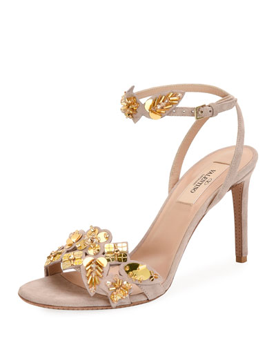 Metallic Pop Flowers Suede d'Orsay Sandal