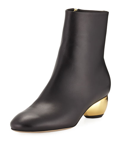Brancusi Leather Metallic-Heel Boot
