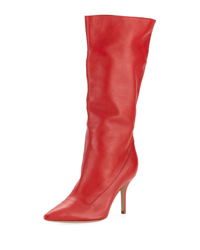 Scrunched Leather Tall Boot