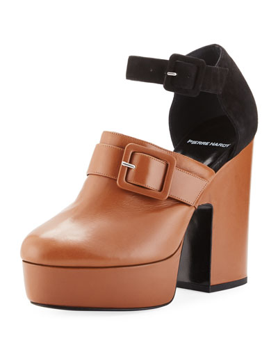 Crash Leather & Suede Platform Clog