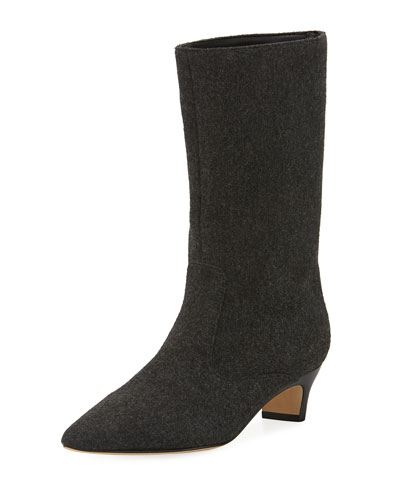 Michelle Wool Mid-Calf Low-Heel Boot, Dark Gary