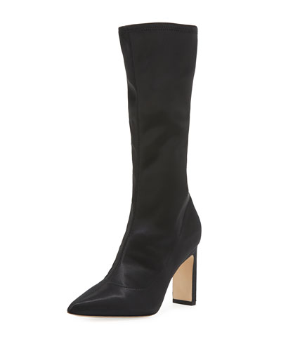 Holly Glove Stretch-Satin Tall Boot, Black