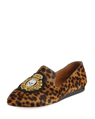 Griffin Leopard-Print Calf Hair Loafer
