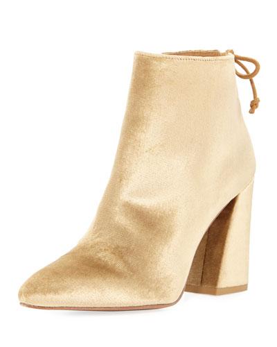Grandiose Panne Velvet Block-Heel Bootie