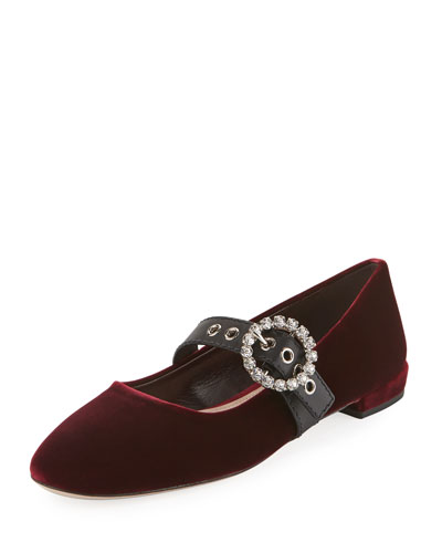 Velvet Mary Jane Buckle Flat