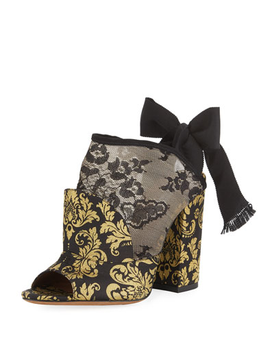 Regina Damask Open-Toe Tie-Back Bootie
