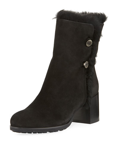 Evangeline Fur-Trim Block-Heel Boot