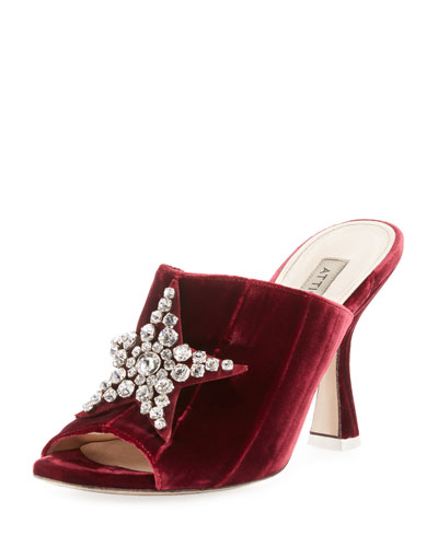 Debbie Crystal Star Velvet Mule Sandal